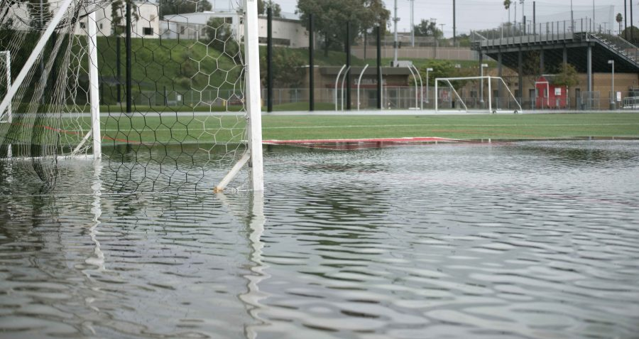 The soccer field experienced severe flooding last week.