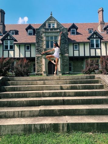 Alisha Kumar has danced competitively for most of her life. Here, she is dancing in front of the campus of Cabrini University in Wayne, Pa., where she practiced during a summer intensive in 2019. PHOTO COURTESY OF ALISHA KUMAR.