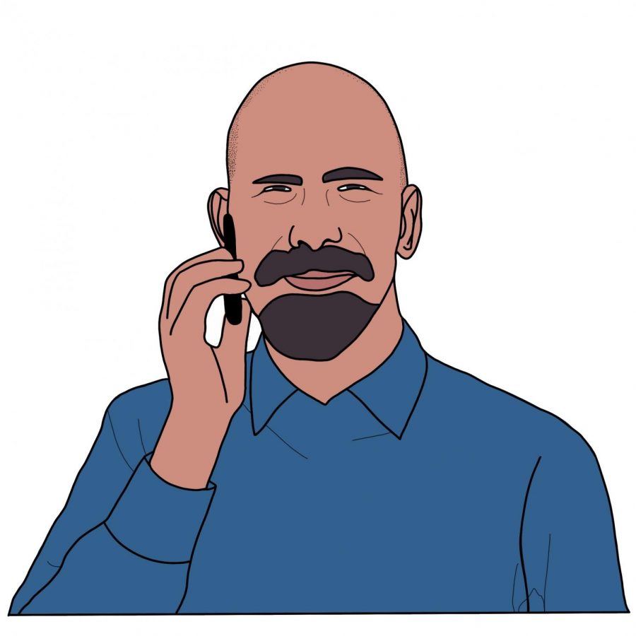 Counselor Arond Schonberg talks on the phone with his students. Illustration by Carly Carter