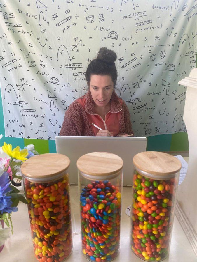 Sarah Keasler teaches her math class through Zoom. PHOTO COURTESY OF SARAH KEASLER