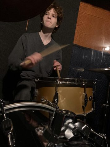 "Joseph Mintz, RUHS musician, plays the drums. During the pandemic, ""music is the one thing that kept me sane.""  Photo courtesy of Joseph Mintz"
