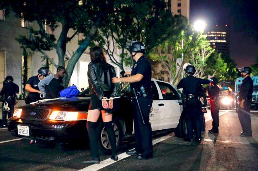 Junior Zoe Stephenson getting arrested.