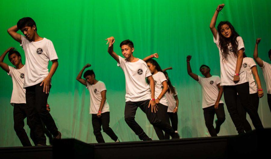 Members of Hip-Hop club dancing in the SPF 8.0 showcase.