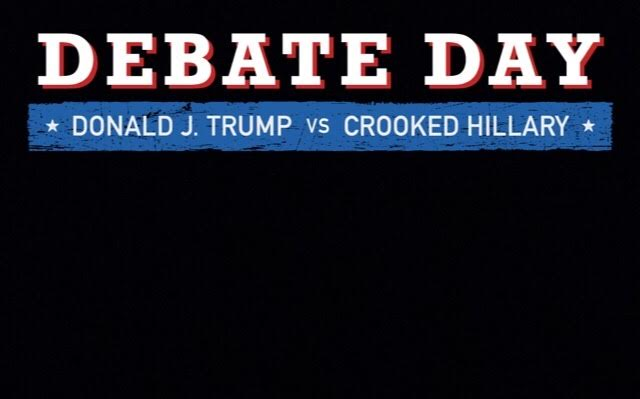 The upper portion of the Snapchat filter reads Donald J. Trump vs Crooked Hillary.