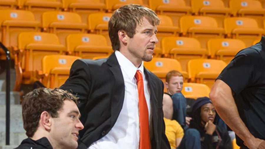 Boardwine was the Head Wrestling Coach at Campbell University in North Carolina. Here, Boardwine watched as his college wrestling team competed against Appalachian State University in 2013. PHOTO COURTESY OF JOE BOARDWINE