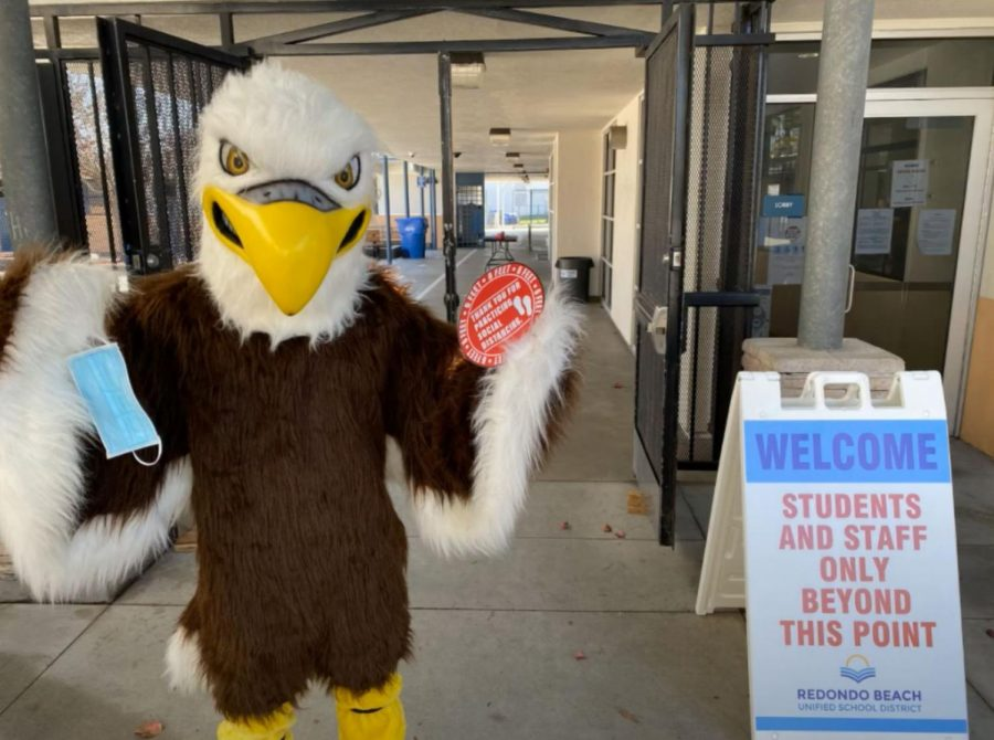 Adams' Middle School's mascot, Steve the Eagle, welcomes students back. Photo via Adams 6th Grade Return Presentation on Youtube