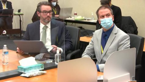 Derek Chauvin and his lawyer during closing statements. Still image, via Court TV