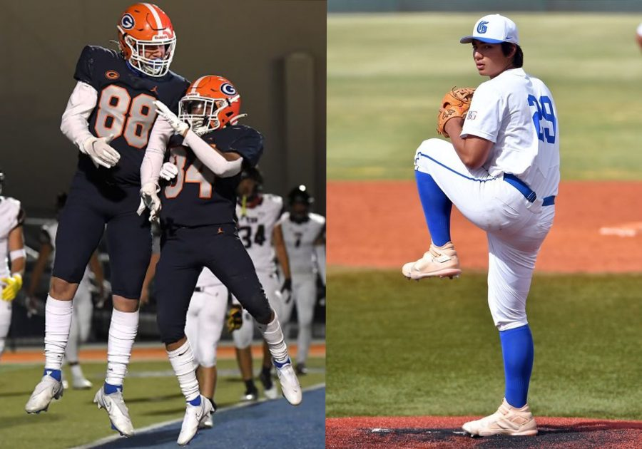On the left, Dawson Adams-Grenier (#88), and on the right, Lucas Boesen; both left RUHS for Bishop Gorman, a school known for their athletes. (Left photo courtesy of Dawson Adams-Grenier, Right photo courtesy of Lucas Boesen)